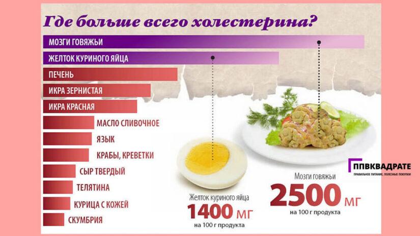 Продукты, где много холестерина