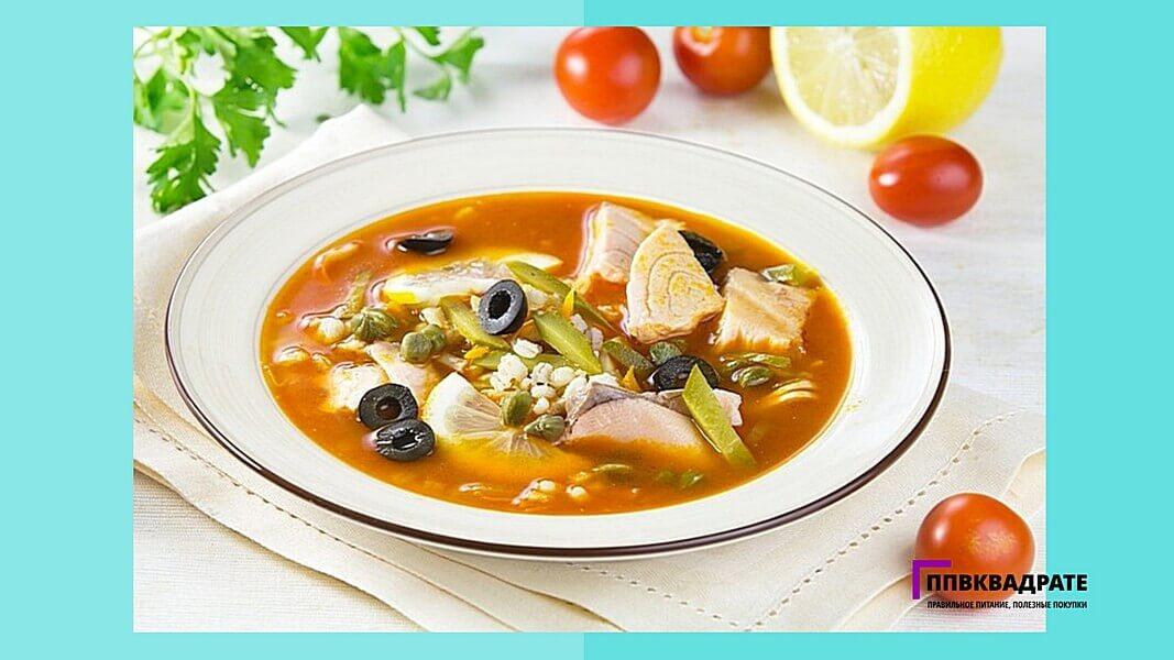 Рыбный суп с маслинами